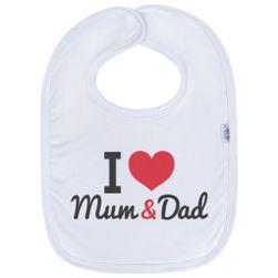 Dojčenský bavlnený podbradník I love Mum and Dad RW_36800