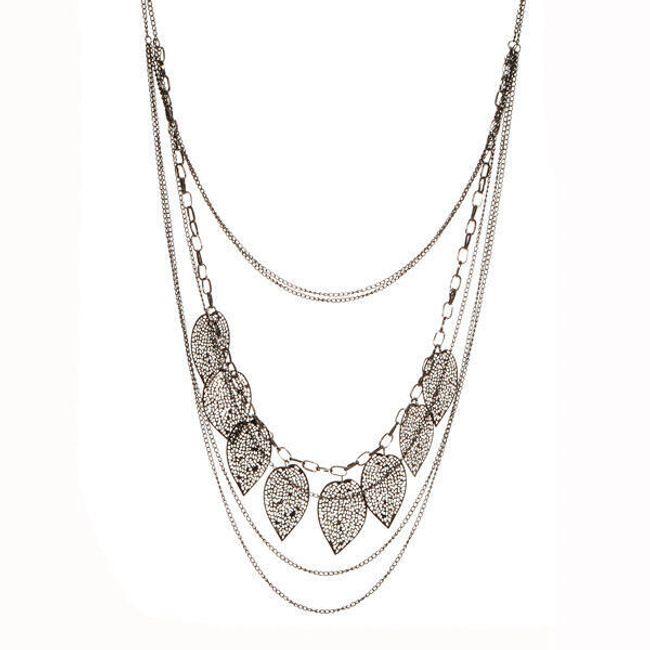 Vícevrstvý náhrdelník zdobený lístečky - ve 2 barvách 1