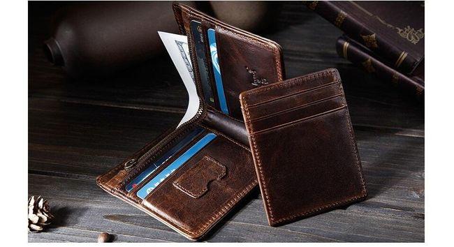 Pánská prošívaná peněženka z PU kůže - kávová barva 1