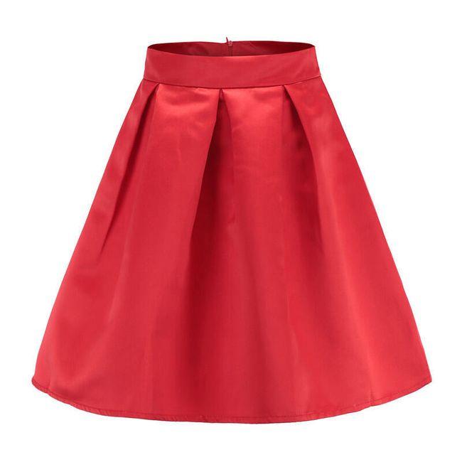Hedvábná sukně s vysokým pasem - Červená-velikost č. 4 1
