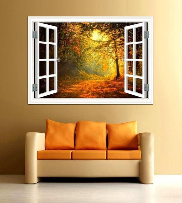 3D duvar çıkartması - orman 1
