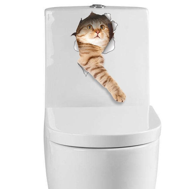 Smešna nalepka s 3D učinkom - mačka 1