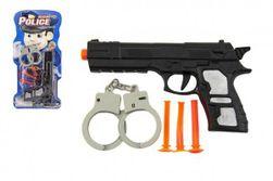 Plastikowy pistolet 21cm z przyssawkami 3szt z kajdankami na kartonie RM_00850408