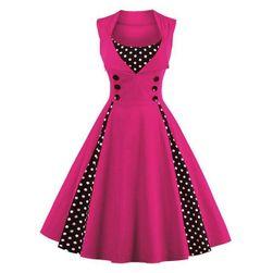 Vintage šaty s puntíkatými detaily a knoflíčky
