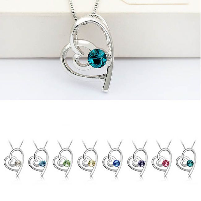 Náhrdelník s přívěskem ve tvaru srdce zdobený barevným kamínkem - na výběr z 8 barev 1