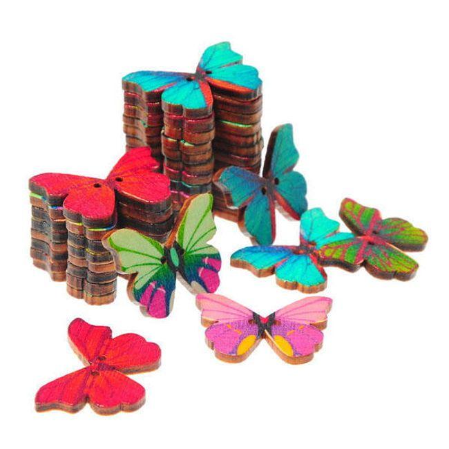 Nasturi din lemn în formă de fluturi - 50 bucăți în pachet 1