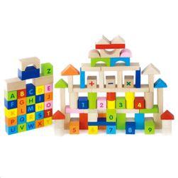 Fa tömbök gyerekeknek Betűk és 100 részből álló számok RW_32742