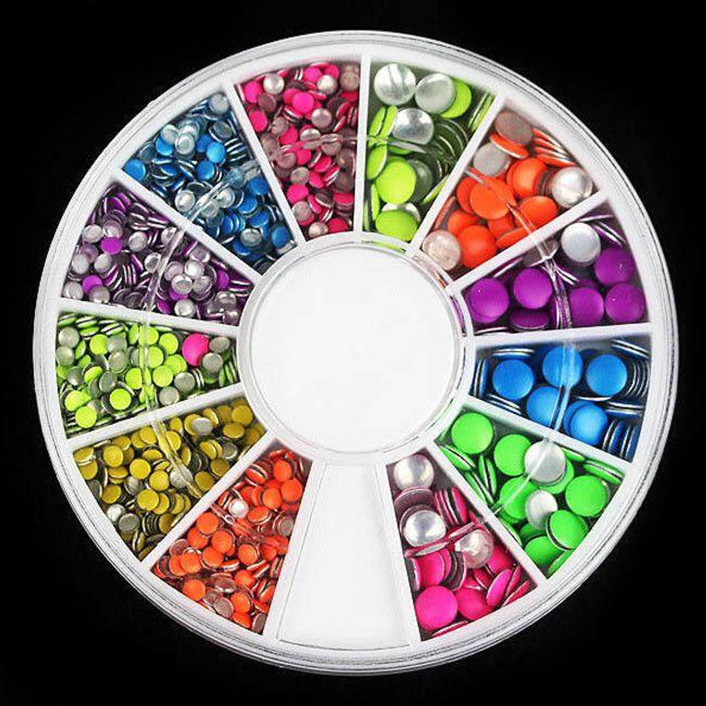 Kolorowe kamyczki na paznokcie - 1500 sztuk 1