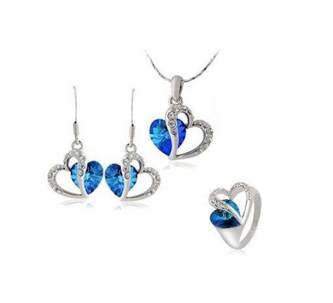 Elegantní set šperků s modrými a čirými kamínky 1