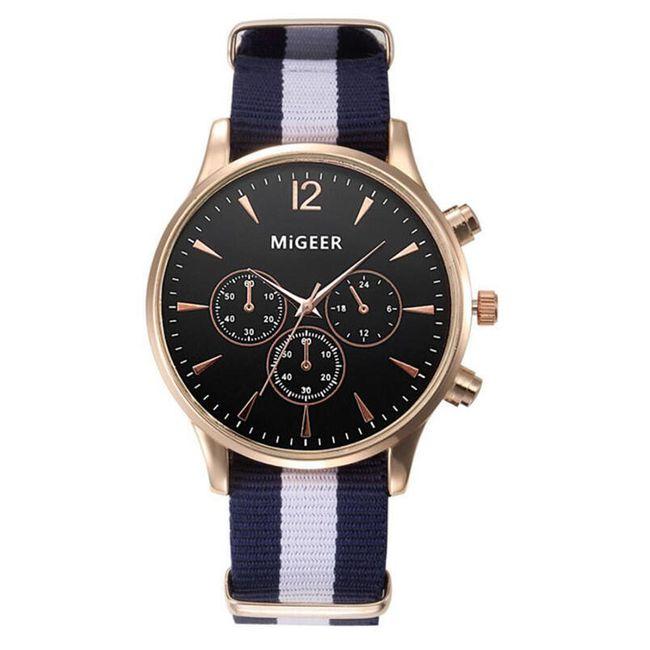 Pánské hodinky s pruhovaným páskem - Černá 1