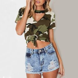 Crop top damski kamo