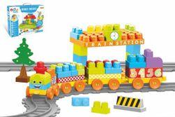 Baby Blocks vlak s koľajami a stavebnicou plast dĺžka dráhy 3,3m s doplnkami v krabici 65x36x8cm 12m + RM_89041480