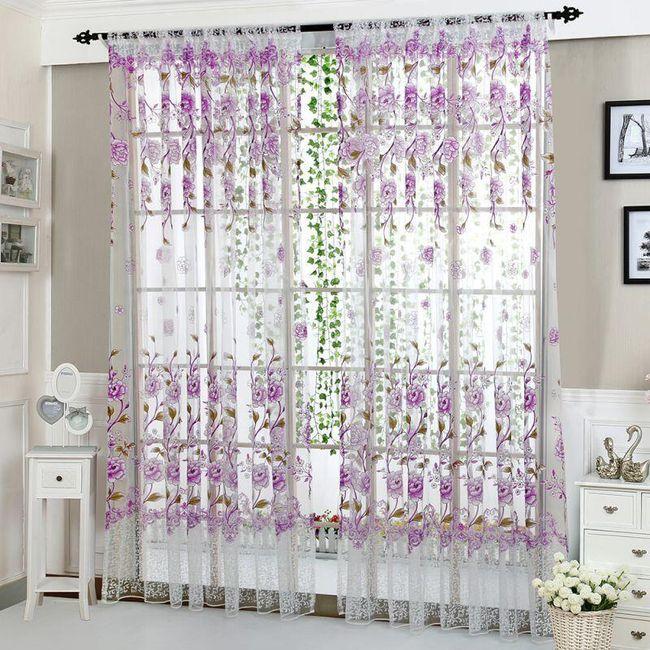 Zavesa sa motivima cveća - 6 boja 1
