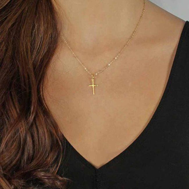 Łańcuszek z małym krzyżem - 2 kolory 1