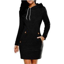 Sukienka bluzowa z kieszeniami i kapturem - 5 kolorów