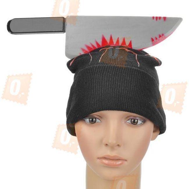Maska na halloween - zakrwawiony nóż 1