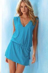 Damska sukienka w różnych kolorach - 11 kolorów Jasnoniebieski