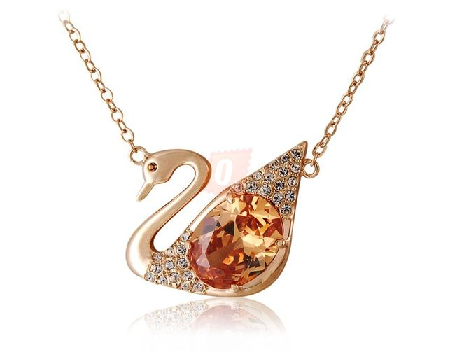 Náhrdelník s labutí osázenou kamínky a kamenem - zlatá barva 1