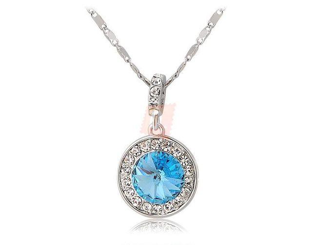Náhrdelník s modrým kamenem - stříbrná barva 1