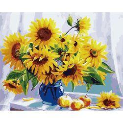 Malowanie po numerach - wazon ze słonecznikami