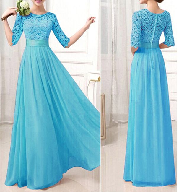 Dlouhé společenské šaty - Modrá-velikost č. 4 1