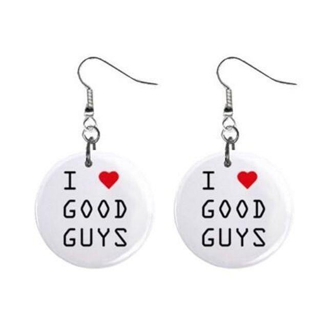 Круглые плоские серьги- I love good guys 1