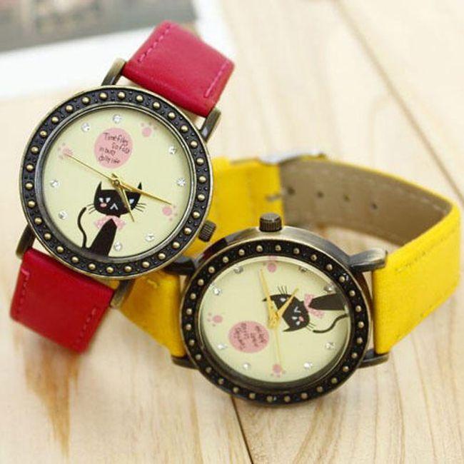 Retro dámské hodinky s kočkou v různých barvách 1