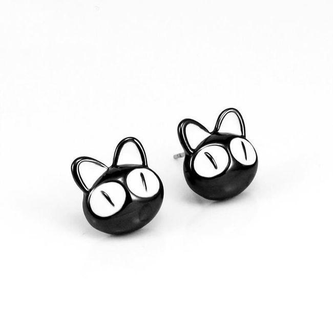 Macska fülbevaló - fekete és piros 1