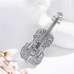 Csillogó hegedű alakú bross