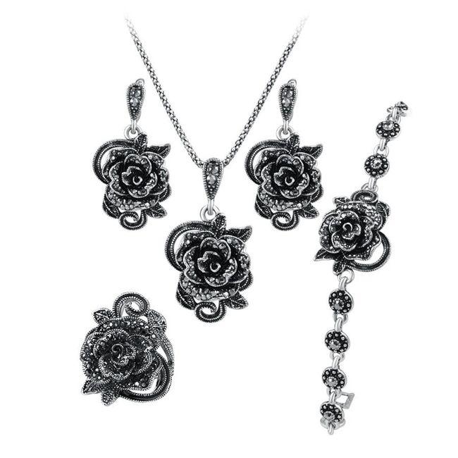 Šperková sada - černé růže 1
