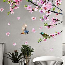 Stylowa naklejka na ścianę - różowe kwiaty z ptakami