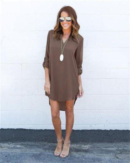 Letní šaty s dlouhým rukávem - Hnědá-S 1