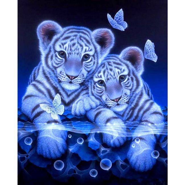 5D slika sa kamenčićima - Tigrići sa leptirima 1