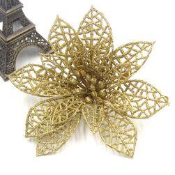 Kwiaty bożonarodzeniowe z brokatem - 3 sztuki