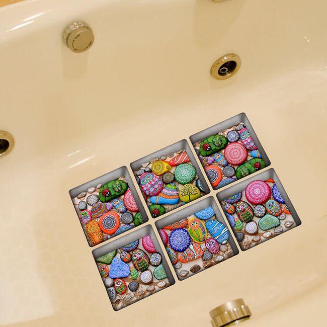 3D fürdő matrica - színes kövek 1