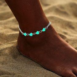Браслет на ногу со светящимися сердечками