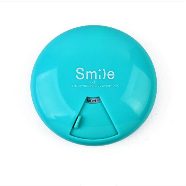 Kulatá krabička na léky - 7 přihrádek - modrá barva 1