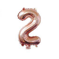 Balon na naduvavanje u obliku broja - ružičasto-zlatne boje