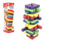 Hra věž dřevěná 60ks barevných dílků společenská hra hlavolam v krabičce 7,5x27,5x7,5cm RM_00850088