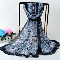 Delikatna damska chusta - czarny kolor