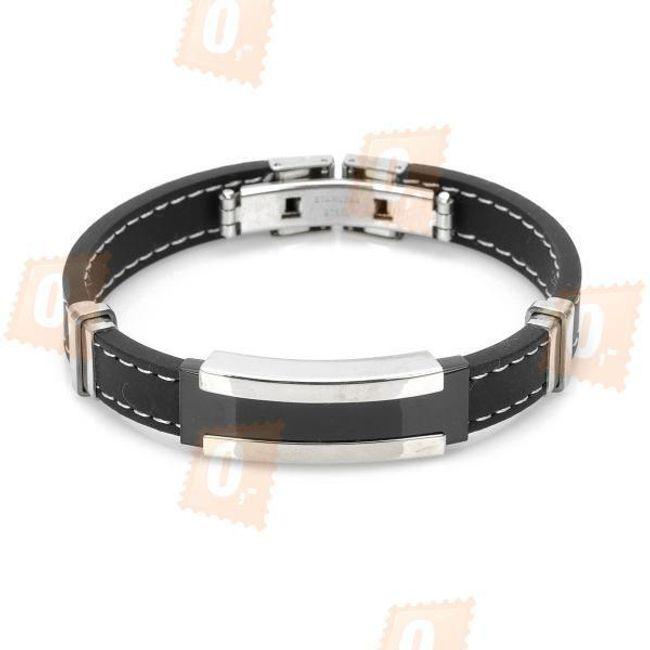Pánský silikonový náramek - černá barva 1