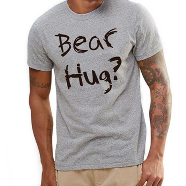 Pánské šedé tričko - BEAR HUG 1