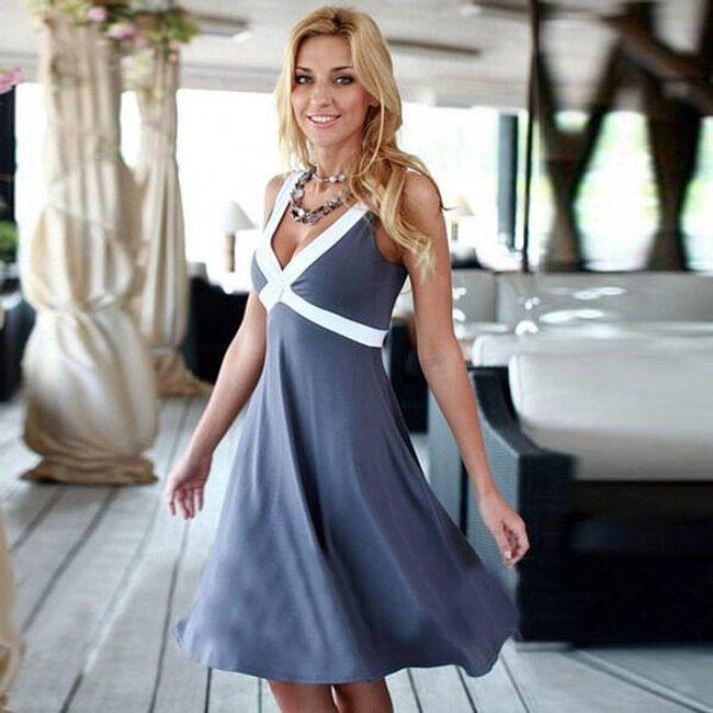Ženska haljina sa belim naramenicama 1