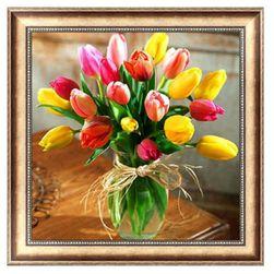 5D DIY obraz kamieni - Wazon z tulipanami