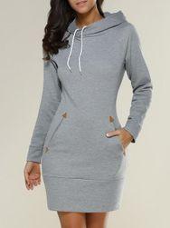 Mikinové šaty s kapucí a kapsami