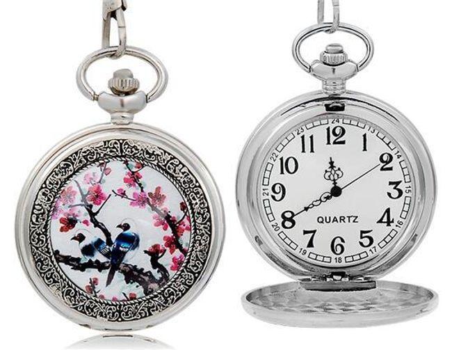 Závěsné hodinky s motivem ptáčka a květin 1