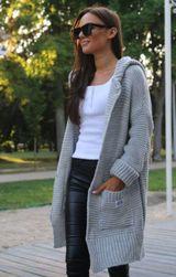 Pletený svetr se zapínáním a kapucou - šedý