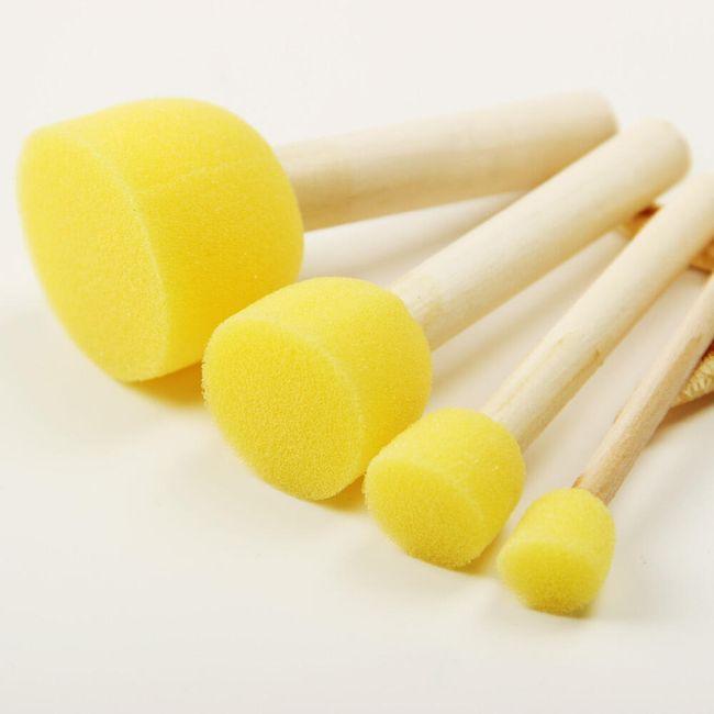 Dřevěná rukojeť s houbičkou na malování - 4 kusy 1