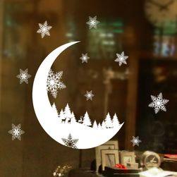 Karácsonyi matrica üveg - fehér színű