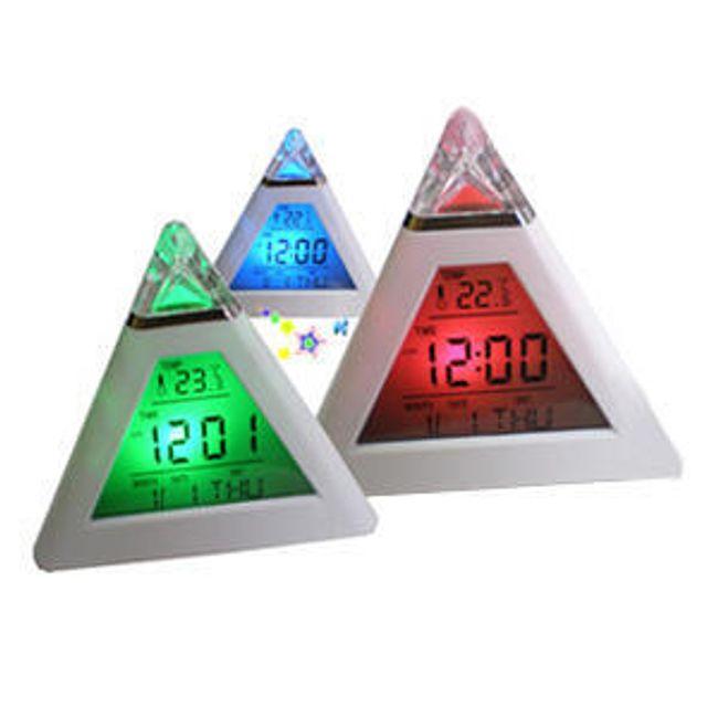 LCD digitální budík s podsvícením ve tvaru pyramidy s teploměrem 1